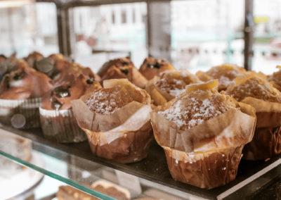 Muffins en vitrine